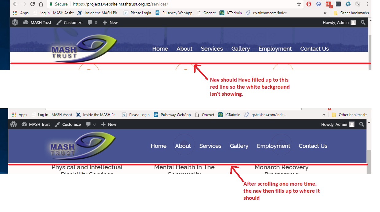 Navigation bar jumping when scrolling - Sydney - aThemes Forums